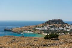 Lindos-Akropolis-Panorama Lizenzfreies Stockfoto
