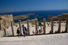 Lindos Akropolis Rhodos Greece Castle historic buildings architecture stock photos