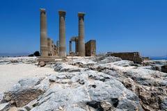 Lindos Akropolis, Rhodos, Griechenland Lizenzfreie Stockfotos