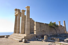 Lindos alter Akropolisbereich bei Rhodos Stockfotografie