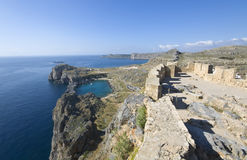 Lindos ancient acropolis area at Rhodes Royalty Free Stock Photo