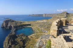 Lindos ancient acropolis area at Rhodes Stock Photography