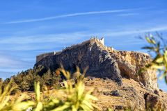 Lindos ancient acropolis on the island of Rhodes, Greece Stock Photography
