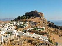 Lindos and the ancient acropolis on the island of Rhodes Royalty Free Stock Image