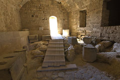 Lindos ancient acropolis at Rhodes Royalty Free Stock Photo