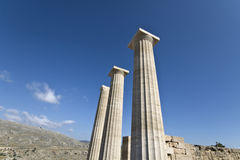 Lindos ancient acropolis at Rhodes island Royalty Free Stock Photography
