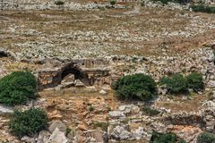 Lindos - ancient city with ruins and standard buildings. Rhodes island, Greece royalty free stock image