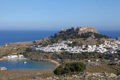 Lindos auf der Insel von Rhodos, Griechenland stockbilder