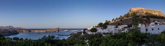 Lindos, baia di Pauls del san, isola di Rodi, Grecia Immagine Stock