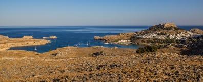 Lindos, baia di Pauls del san, isola di Rodi, Grecia Fotografia Stock