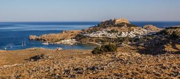 Lindos, baia di Pauls del san, isola di Rodi, Grecia Immagini Stock Libere da Diritti