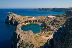 Lindos bay. Mediterranean Sea. Lindos bay. Greece royalty free stock images