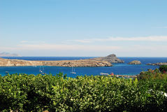 Lindos bay, Greece. Lindos Bay, Rhodes Island, Greece stock image