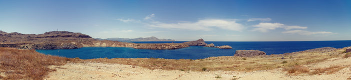 Lindos bay panorama Royalty Free Stock Photography