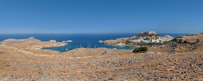 Lindos bay panoramic view. Stock Photo