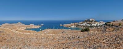 Lindos bay panoramic view. Lindos. Rhodes. Greece Stock Photo