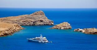 Lindos Bay.Rhodes Grèce Photographie stock
