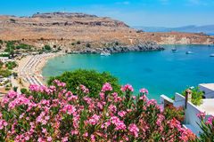 Lindos Bay. Rhodes, Greece. Elevated view of Lindos Bay. Lindos, Rhodes, Dodecanese Islands, Greece, Europe Royalty Free Stock Photos
