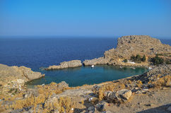 Lindos Bay, Rhodes, Greece. View of Lindos bay, on the Greek island of Rhodes Stock Photo