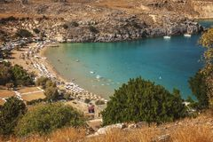 Lindos Bay Rhodes Greece. View of Lindos bay and village. Rhodes, Greece royalty free stock photography
