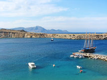 Lindos Bay, Rhodes island Royalty Free Stock Photo