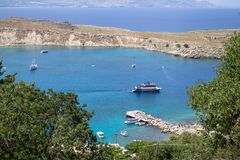 Lindos bay, Rhodos, Greece. Famous Lindos bay on Rhodos island, Greece stock photos