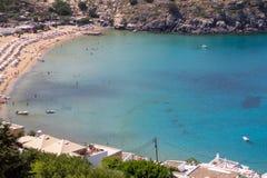 Lindos bay, Rhodos, Greece. Famous Lindos bay on Rhodos island, Greece stock image