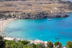Lindos bay, Rhodos, Greece. Famous Lindos bay on Rhodos island, Greece stock photography