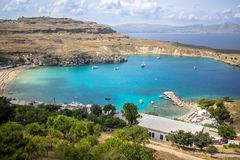 Lindos bay, Rhodos, Greece. Famous Lindos bay on Rhodos island, Greece royalty free stock photography