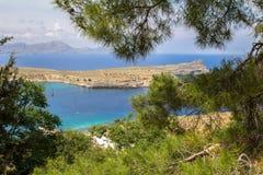 Lindos bay, Rhodos, Greece. Famous Lindos bay on Rhodos island, Greece stock images