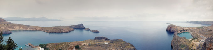 Lindos bay and St. Paul's Bay panorama Stock Image