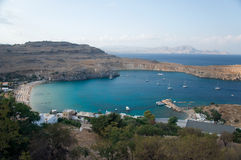 Lindos bay in sunset Royalty Free Stock Image
