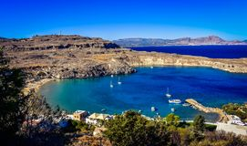 The lindos bay,view from the Acropolis royalty free stock photo
