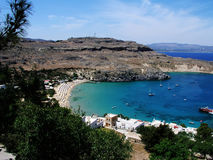 Lindos beach greece. Rhodes a beautiful island filled with ancient history Royalty Free Stock Image