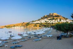Lindos Beach Rhodes Greece Stock Photos