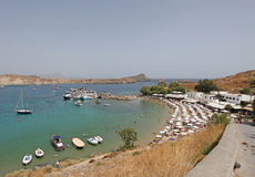 Lindos beach, Rhodes island, Greece Stock Photography