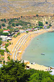 Lindos beach. View from above of the main beach in Lindos royalty free stock photo