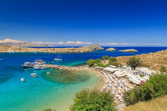 Lindos beautiful bay view from above sunny bright day Rhodes Greece Stock Image
