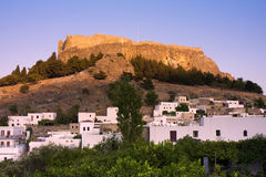 Lindos castle. Ancient castle on top of the mountain in Lindos. Rhodes island. Greece Royalty Free Stock Photography