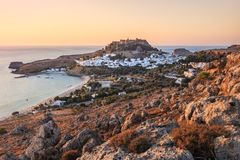 Lindos with the castle above on the Greek Island stock photography