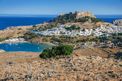 Lindos with the castle above of Rhodes Stock Photo