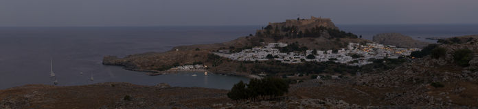Lindos with the castle above at sunset Stock Photos