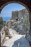 Lindos Castle Rhodes Greece Stock Photos