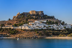 Lindos Castle and village stock image