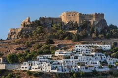Lindos Castle and village royalty free stock photos