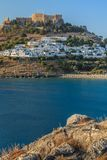 Lindos Castle and village stock photo