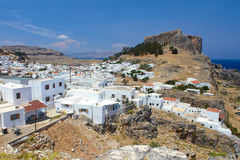 Lindos city, castle of historic Lindos, Rhodes island, Greece royalty free stock images