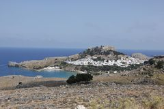 Lindos City on Rhodes island in Greece in summer royalty free stock images