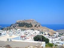Lindos - de mooiste stad van Rhodos royalty-vrije stock foto's