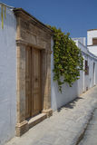 Lindos doors in Narrow Street at Rhodes Island Stock Images